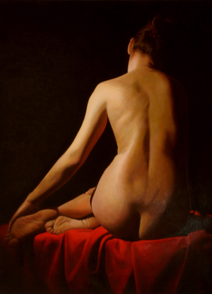 TOBY BOOTHMAN * VIRGINIE ON RED DRAPE * Oil on Canvas 100x70