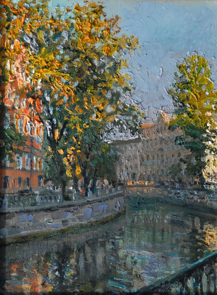 ANDRIAN GORLANOV * EVENING ON CANAL * Oil on Canvas 40x30