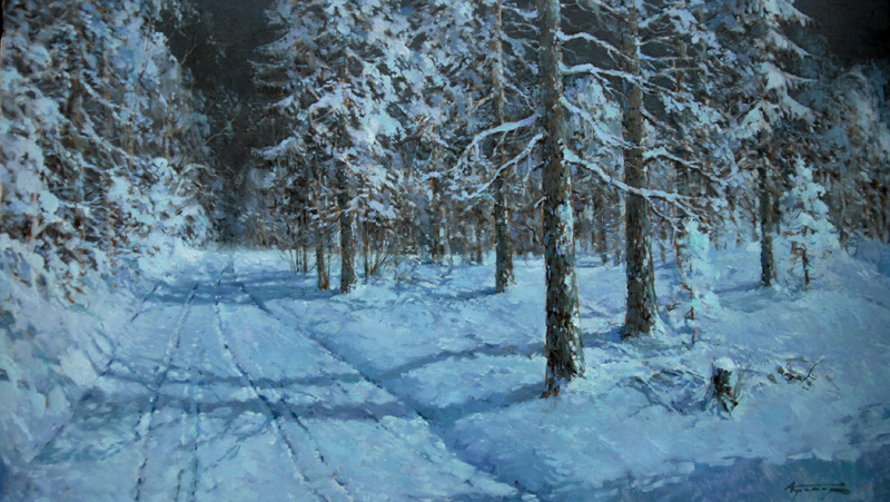 ALEXANDER KREMER * NIGHT IN FOREST * Oil on Canvas 70x120